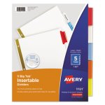 Avery Big Tab Dividers, Multicolor Tabs, 5-Tab, Letter, White (AVE11121)