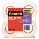 "Scotch Tear-By-Hand Packaging Tape, 1.88"" x 50 yards, Clear, 4/Box (MMM38424)"