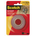 Scotch Exterior Weather-Resistant Double-Sided Tape, Gray w/Red Liner (MMM411P)