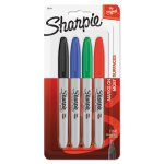 Sharpie Fine Point Permanent Marker, Assorted Colors, 4/Set (SAN30174PP)