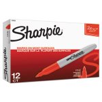 Sharpie Super Permanent Markers, Fine Point, Red, Dozen (SAN33002)