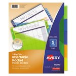 Avery Big Tab Plastic Dividers, Slash Pocket, 5-Tab, Letter, Assorted (AVE11902)