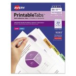 Avery Printable Repositionable Plastic Tabs, Assorted, 80/Pack (AVE16283)