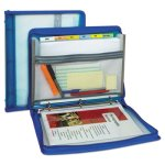 "C-line Zippered Binder w/Expanding File, 10.88"" x 1.5"", Bright Blue (CLI48115)"