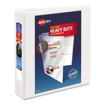"Avery Nonstick Heavy-Duty EZ-Turn Ring Binder, 2"" Capacity, White (AVE05504)"