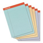 Universal Fashion Colored Perforated Ruled Writing Pads, Wide, 6 Pads (UNV35878)