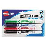 Marks-a-lot Pen Style Dry Erase Markers, Bullet Tip, Assorted, 4/Set (AVE24459)