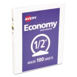 "Avery Economy Vinyl Round Ring View Binder, 1/2"" Capacity, White (AVE05706)"