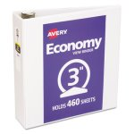 "Avery Economy Vinyl Round Ring View Binder, 3"" Capacity, White (AVE05741)"