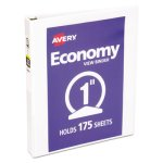 "Avery Economy Vinyl Round Ring View Binder, 1"" Capacity, White (AVE05711)"