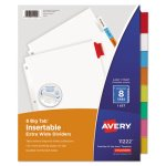 Avery Big Tab Extrawide Dividers w/8 Multicolor Tabs, 9 x 11, White (AVE11222)