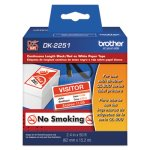 "Brother Continuous Paper Label Tape, 2-1/2"" x 50 ft, Black/White (BRTDK2251)"