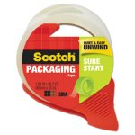Scotch Sure Start Packaging Tape w/Dispenser, 38.2 Yards,Clear (MMM3450SRD)