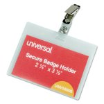 universal-deluxe-clear-badge-holders-w-garment-safe-clips-we-inserts-unv56006