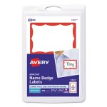 Avery Self-Adhesive Name Badge Labels, Red Border, 100 Labels (AVE5143)