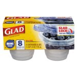 Glad Mini Round Food Storage Containers, 4 oz,  8/Pk, 12 Pk/Ctn (CLO70240)