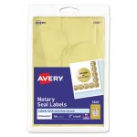 "Avery Inkjet Print or Write Notarial Seals, 2"" Dia, Gold, 44/Pack (AVE05868)"