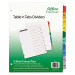 Office Table 'N Tabs Dividers, 10 Multicolor Tabs, 1-10, Letter, Set (AVE11671)