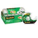 "Scotch Magic Tape & Refillable Dispenser, 3/4"" x 650"", Clear, 6/Pack (MMM6122)"