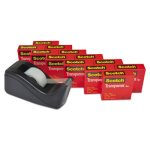 "Scotch Transparent Tape Dispenser Pack, 1"" core, Blk, 12 Rolls (MMM600KC60)"