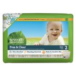 Seventh Generation Free and Clear Baby Diapers, Size 2, 144 Diapers (SEV44061)