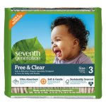 Seventh Generation Free & Clear Baby Diapers, Size 3, 124 Diapers (SEV44062)