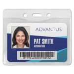 Advantus Security ID Badge Holder, Horizontal, Clear, 50 per Box (AVT75411)