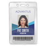 Advantus Security ID Badge Holder, Vertical, Clear, 50 per Box (AVT75419)