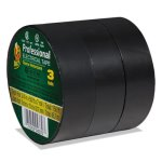 "Duck Pro Electrical Tape, 3/4"" x 50 ft, 1"" Core, Black, 3/Pack (DUC299004)"