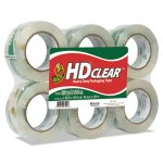 "Duck Heavy-Duty Clear Carton Packaging Tape, 1.88"" x 110 yards, 6/Pk (DUC299016)"