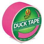"Duck Colored Duct Tape, 1.88"" x 15 yds, 3"" Core, Neon Pink (DUC1265016)"