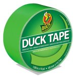 "Duck Colored Duct Tape, 1.88"" x 15 yds, 3"" Core, Neon Green (DUC1265018RL)"
