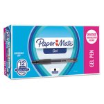 Paper Mate Roller Ball Retractable Gel Pen, Black Ink, Fine, Dozen (PAP1753362)