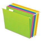 Pendaflex Reinforced Hanging Folders, Glow Assorted, 25 Folders (PFX81672)