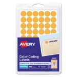 "Avery Removable Color-Coding Labels, 1/2"" dia, Orange, 840 Labels (AVE05062)"
