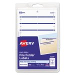Avery File Folder Labels, 1/3 Cut, White/Dark Blue, 252 Labels (AVE05200)