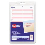Avery File Folder Labels, 1/3 Cut, White/Dark Red Bar, 252 Labels (AVE05201)