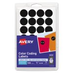 Avery Removable Self-Adhesive Color-Coding Labels, Black, 1008 Labels (AVE05459)