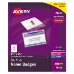 Avery Clip-Style Name Badge Holders with Inserts, 100 Badges (AVE74461)