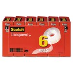 "Scotch Transparent Tape, 3/4"" x 1296"", 1"" Core, Clear, 6/Box (MMM6006PK)"
