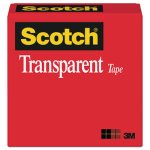 "Scotch Transparent Tape, 1"" x 72 yards, 3"" Core, Clear (MMM60012592)"