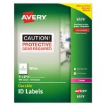 Avery 6579 Durable ID Labels, 5 x 8-1/8, White, 100 Labels (AVE6579)