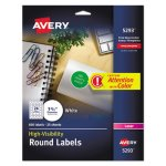 Avery High-Visibility Round Laser Labels, 1-2/3in dia, White, 600/Pack (AVE5293)