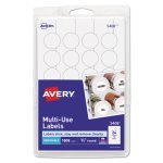 Avery Multi-Use Labels, 3/4in diameter, White, 1008/Pack (AVE05408)