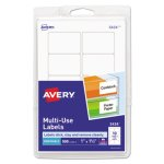 Avery Print or Write Removable Labels, 1 x 1-1/2, White, 500 Labels (AVE05434)