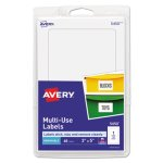 Avery Removable Multi-Use Labels, 3 x 5, White, 40 Multi-Use Labels (AVE05450)