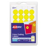 Avery Print or Write Color-Coding Labels, Yellow, 1008 per Pack (AVE05462)