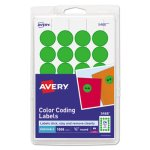 Avery Print or Write Removable Color-Coding Labels, Green, 1008/Pack (AVE05468)