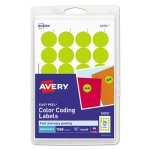 "Avery Removable Color-Coding Labels, 3/4"" dia, Yellow, 1008 Labels (AVE05470)"
