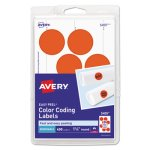 "Avery Removable Color-Coding Labels, 1-1/4"" dia, Red, 400 Labels (AVE05497)"